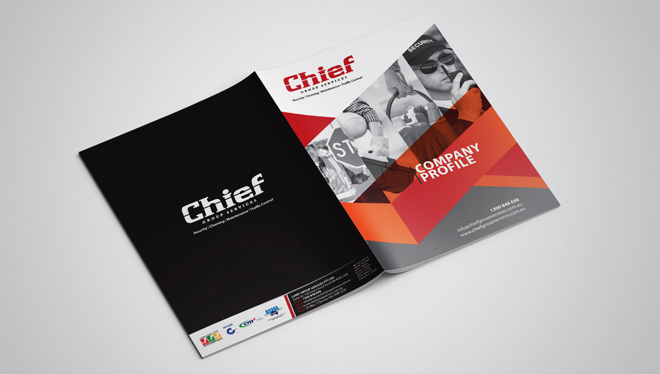 Company profile design for Chief Group Services by FOX DESIGN