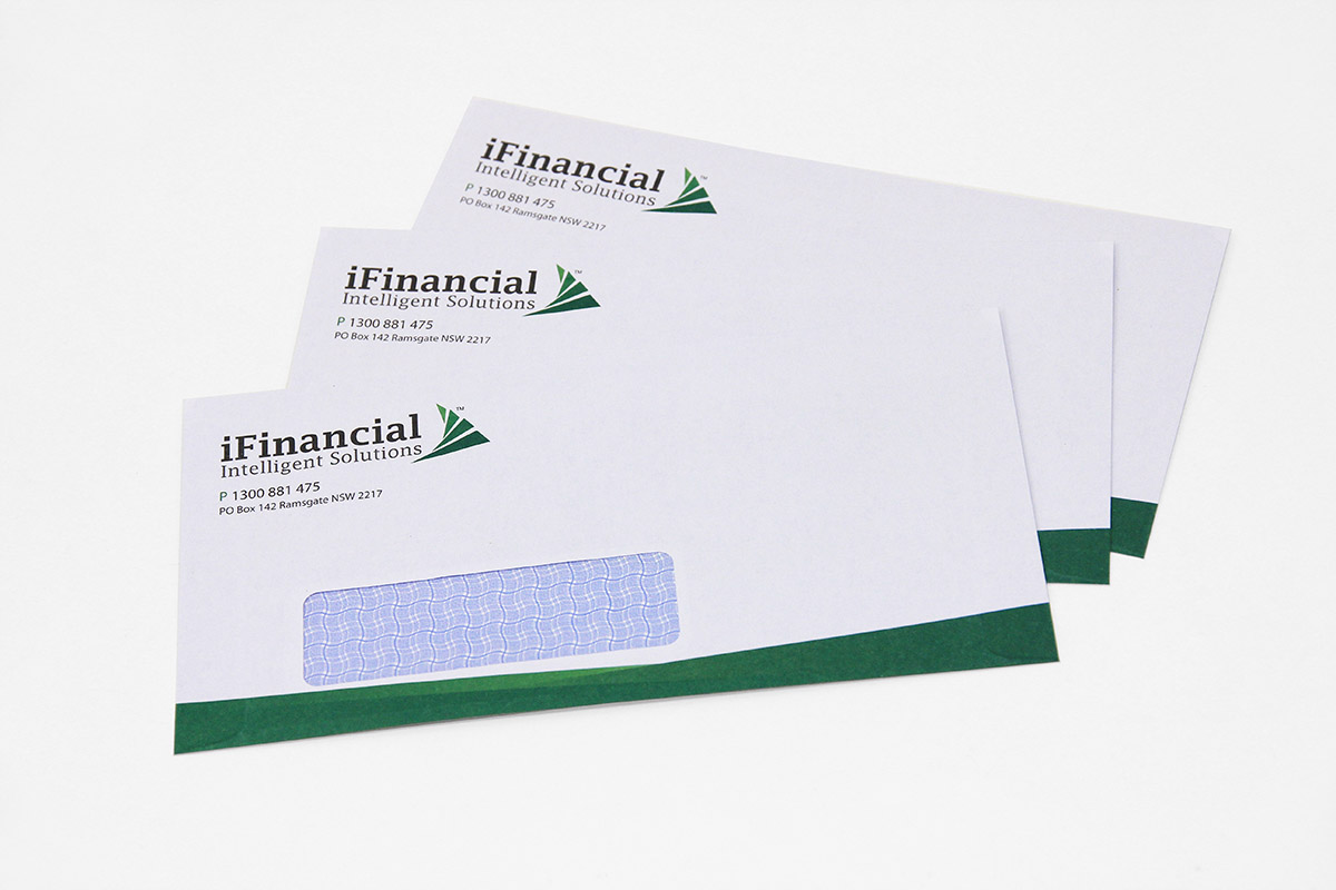 iFinancial envelope design and print by FOX DESIGN Sydney