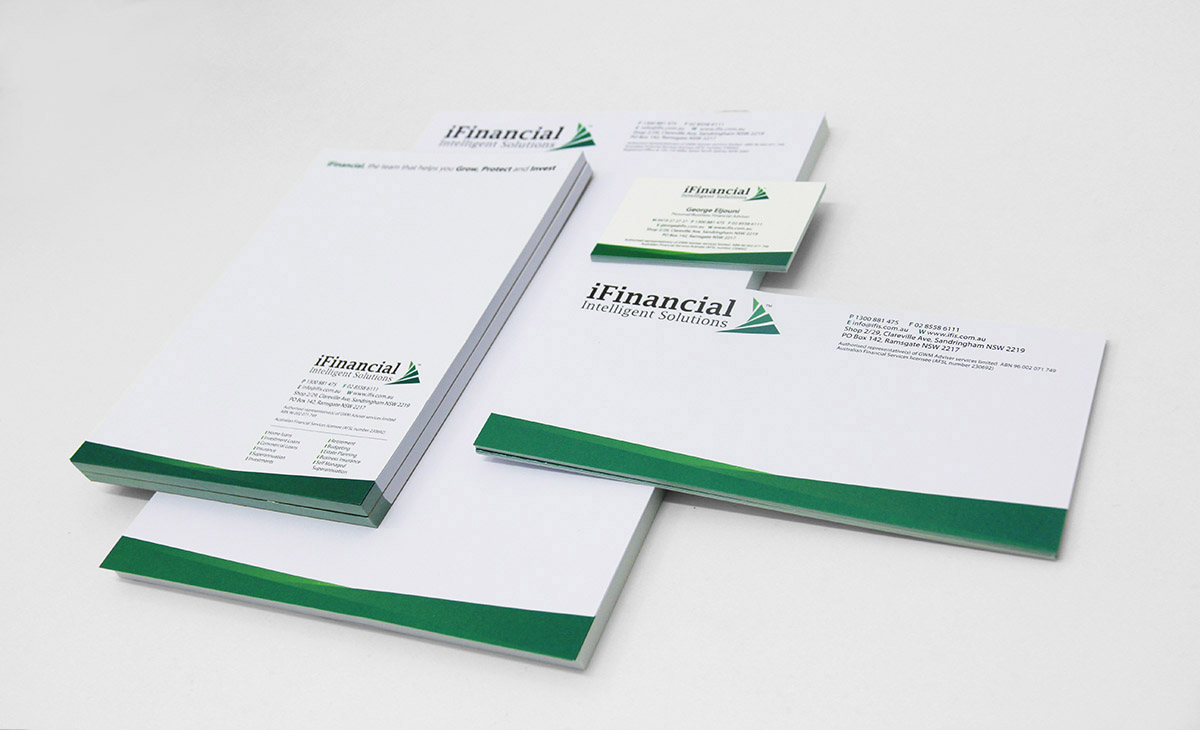 iFinancial A5 pads design by FOX DESIGN