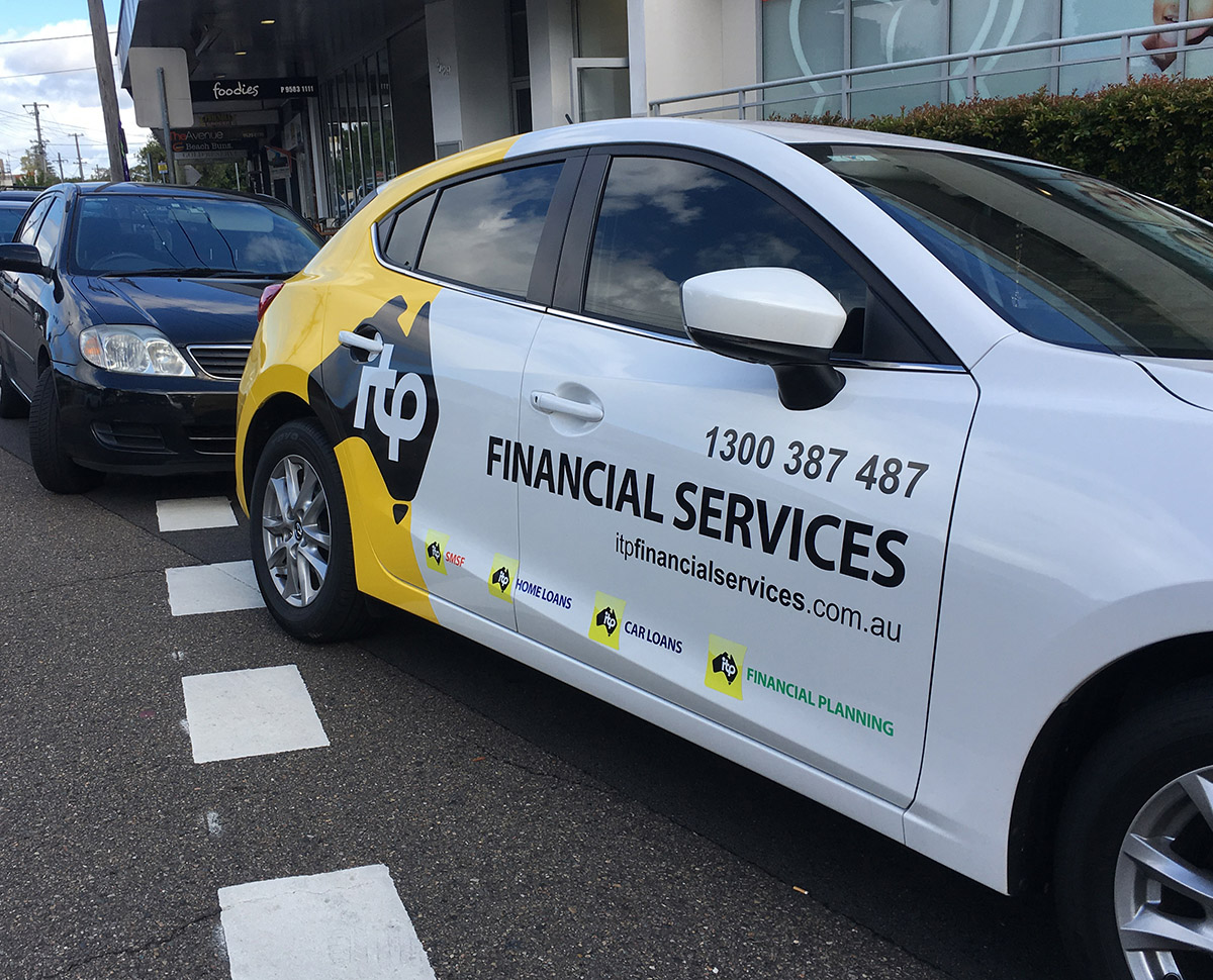 ITP Financial Services car sign branding