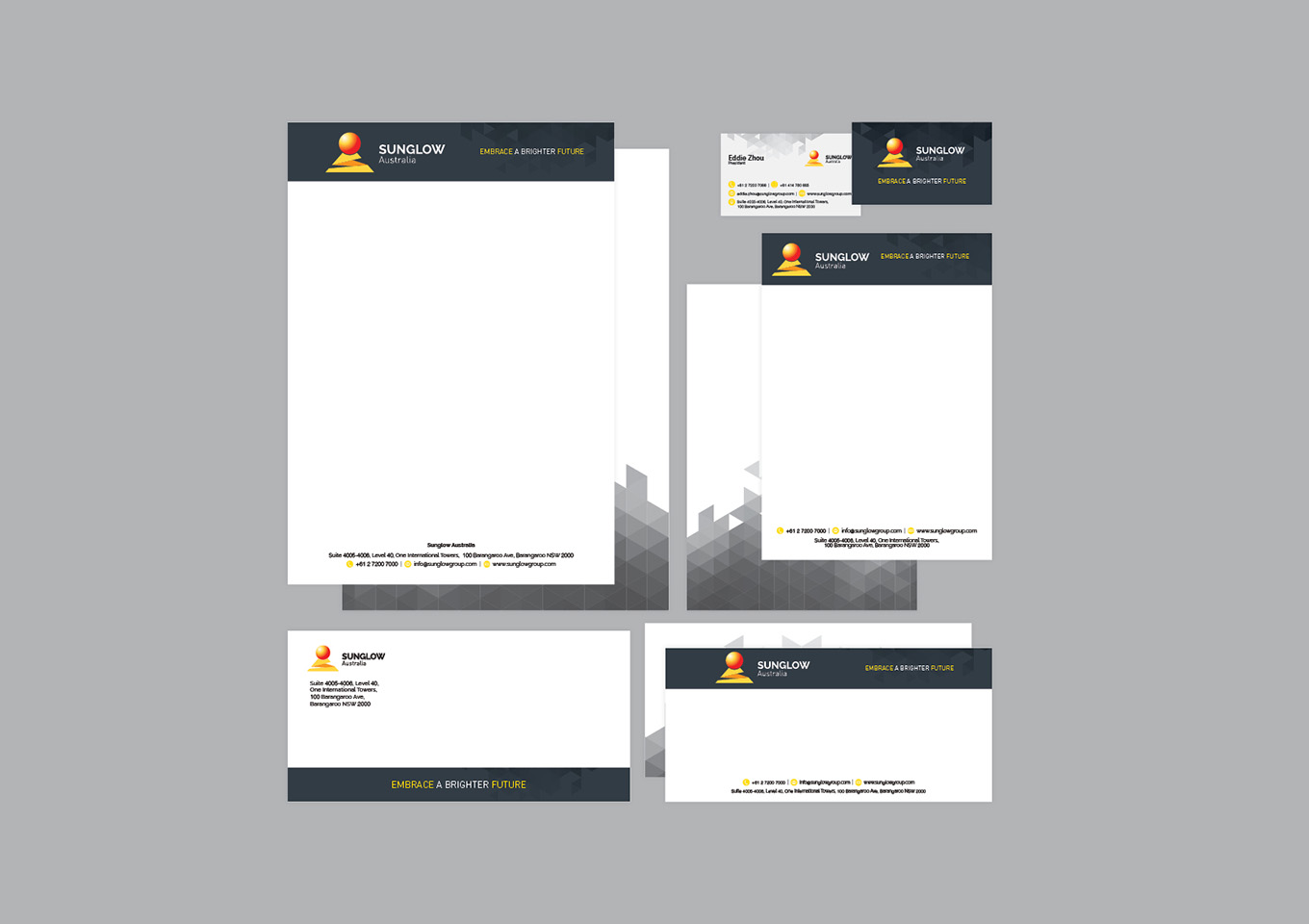 Sunglow Australia statioinery design and print by FOX DESIGN